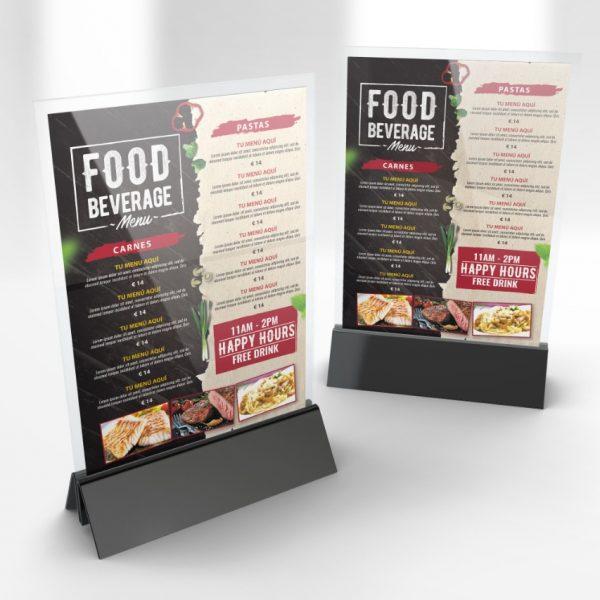 Carta menú para bares y restaurantes